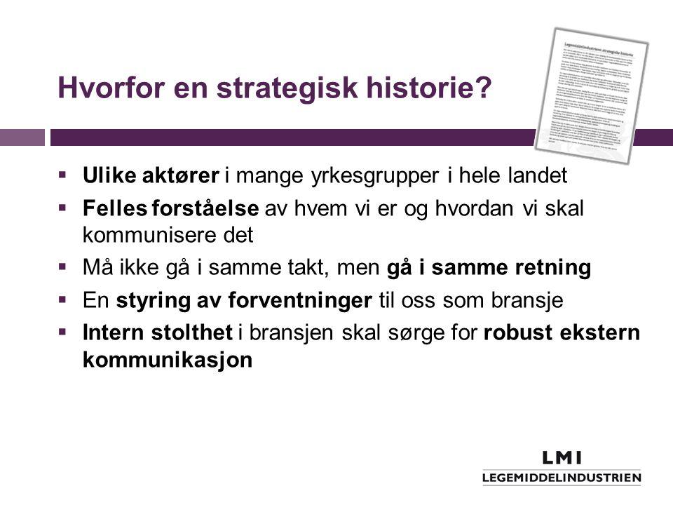 Hvorfor en strategisk historie?  Ulike aktører i mange yrkesgrupper i hele landet  Felles forståelse av hvem vi er og hvordan vi skal kommunisere de