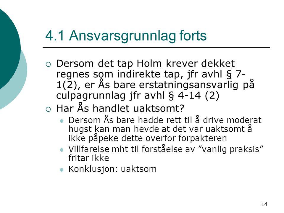 14 4.1 Ansvarsgrunnlag forts  Dersom det tap Holm krever dekket regnes som indirekte tap, jfr avhl § 7- 1(2), er Ås bare erstatningsansvarlig på culp