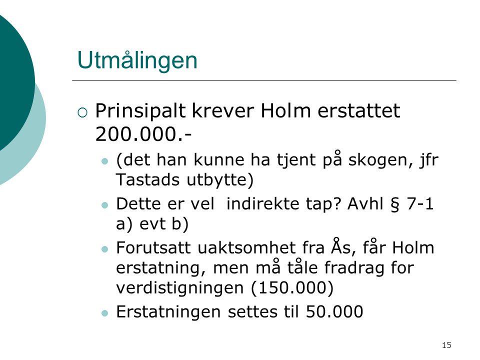 15 Utmålingen  Prinsipalt krever Holm erstattet 200.000.- (det han kunne ha tjent på skogen, jfr Tastads utbytte) Dette er vel indirekte tap? Avhl §