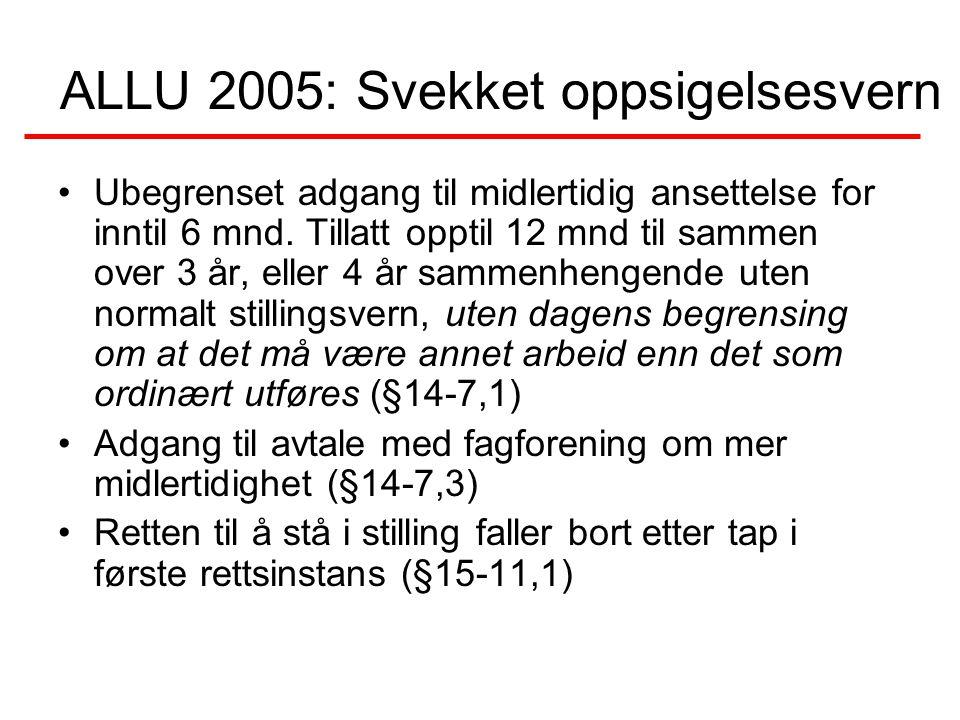ALLU 2005: Svekket oppsigelsesvern Ubegrenset adgang til midlertidig ansettelse for inntil 6 mnd. Tillatt opptil 12 mnd til sammen over 3 år, eller 4