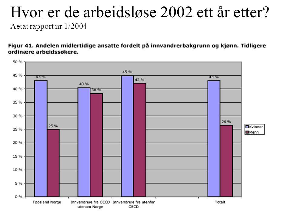 Hvor er de arbeidsløse 2002 ett år etter? Aetat rapport nr 1/2004