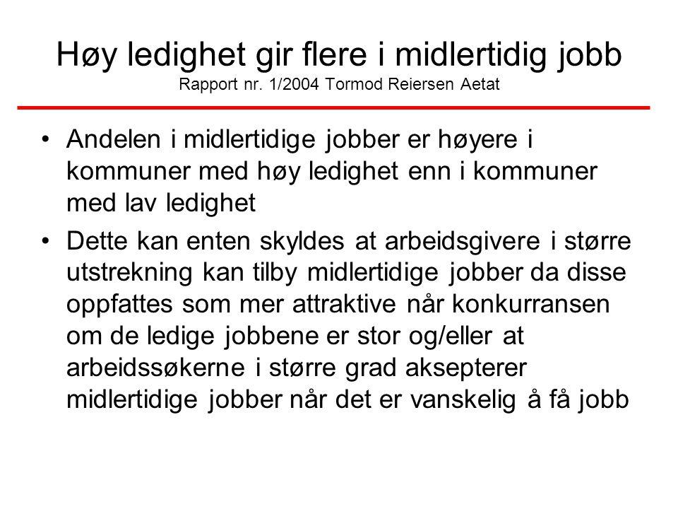 Høy ledighet gir flere i midlertidig jobb Rapport nr. 1/2004 Tormod Reiersen Aetat Andelen i midlertidige jobber er høyere i kommuner med høy ledighet