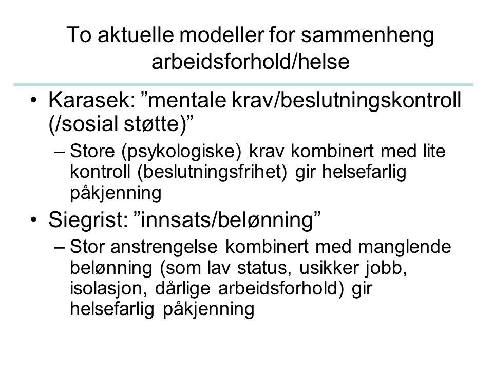"""To aktuelle modeller for sammenheng arbeidsforhold/helse Karasek: """"mentale krav/beslutningskontroll (/sosial støtte)"""" –Store (psykologiske) krav kombi"""