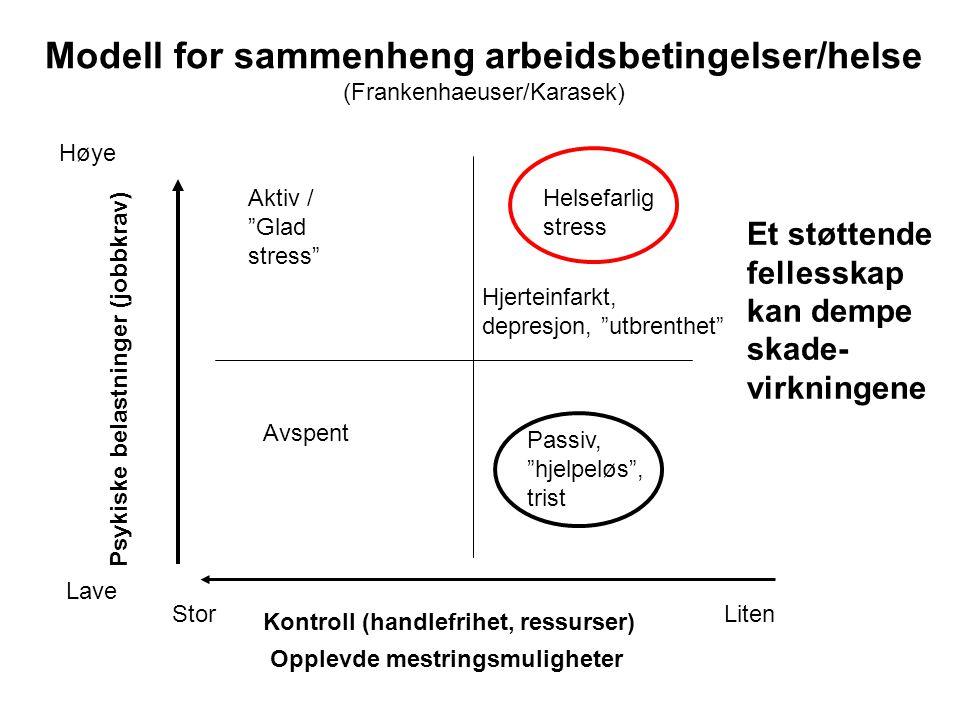 """Kontroll (handlefrihet, ressurser) Psykiske belastninger (jobbkrav) Helsefarlig stress Avspent Aktiv / """"Glad stress"""" Passiv, """"hjelpeløs"""", trist StorLi"""