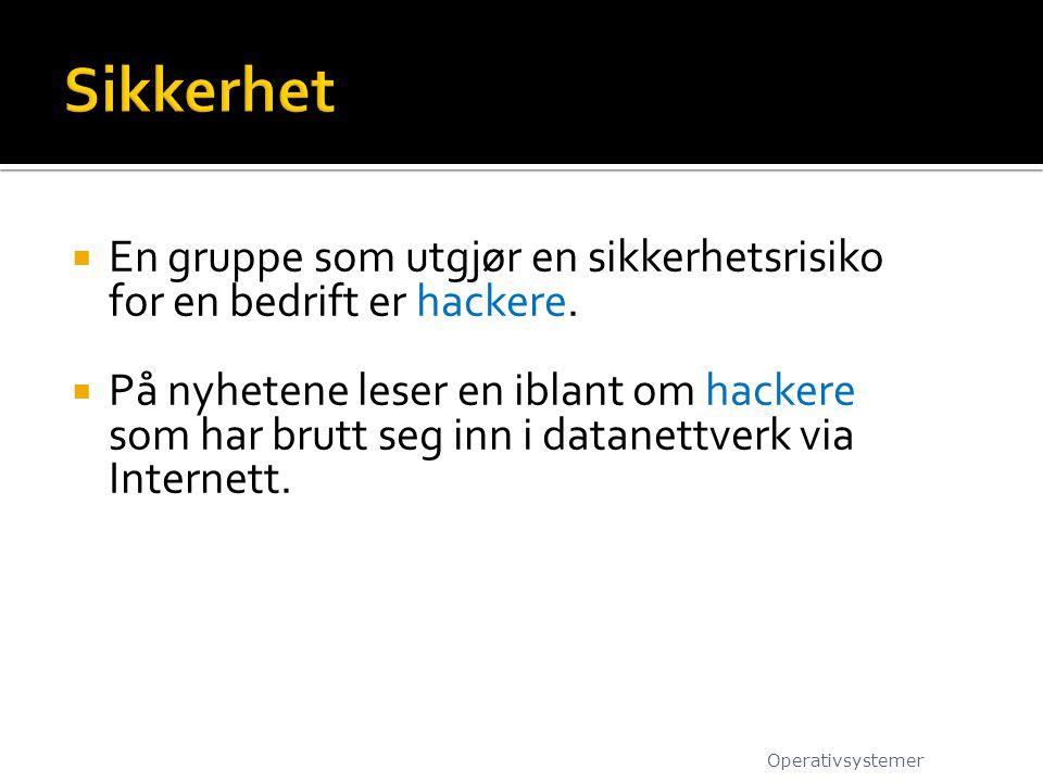  En gruppe som utgjør en sikkerhetsrisiko for en bedrift er hackere.