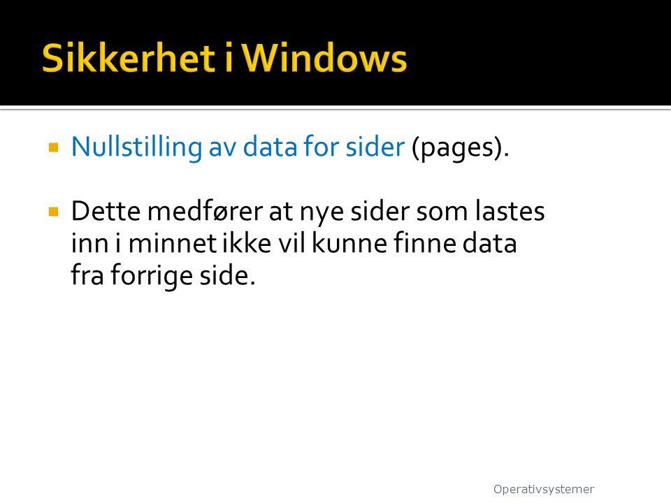  Nullstilling av data for sider (pages).