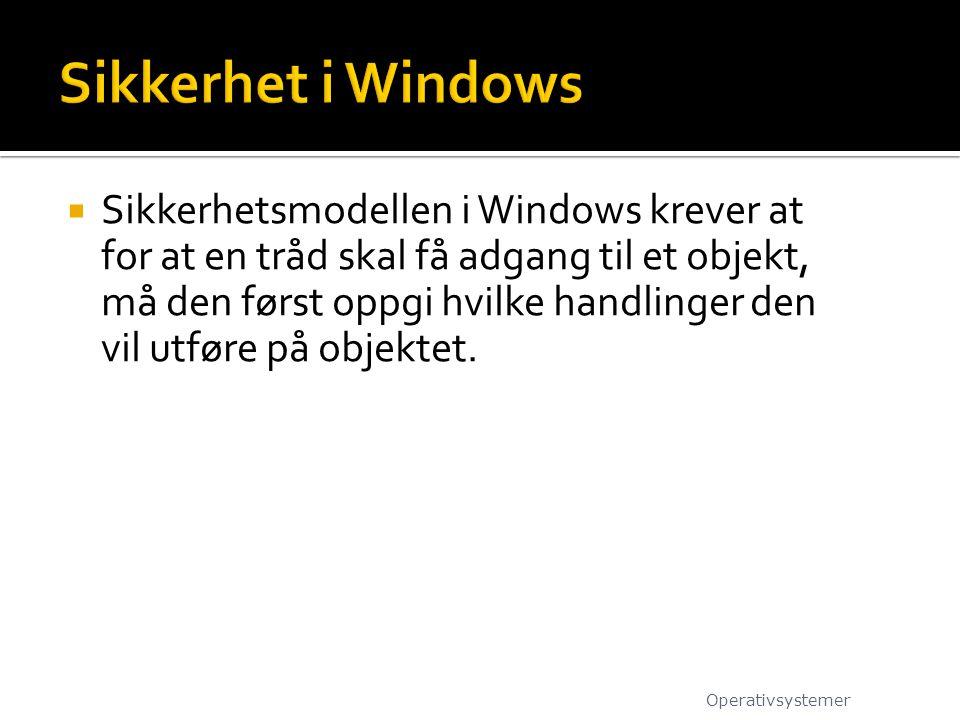  Sikkerhetsmodellen i Windows krever at for at en tråd skal få adgang til et objekt, må den først oppgi hvilke handlinger den vil utføre på objektet.