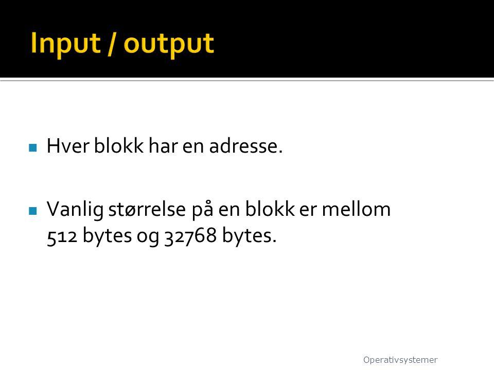 Hver blokk har en adresse.Vanlig størrelse på en blokk er mellom 512 bytes og 32768 bytes.