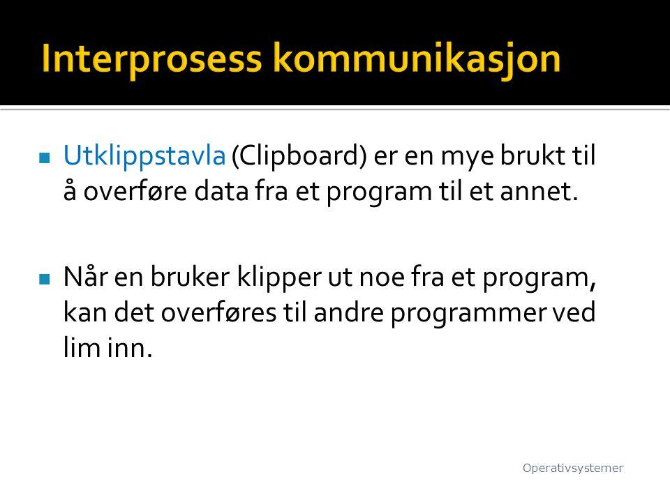 Utklippstavla (Clipboard) er en mye brukt til å overføre data fra et program til et annet.