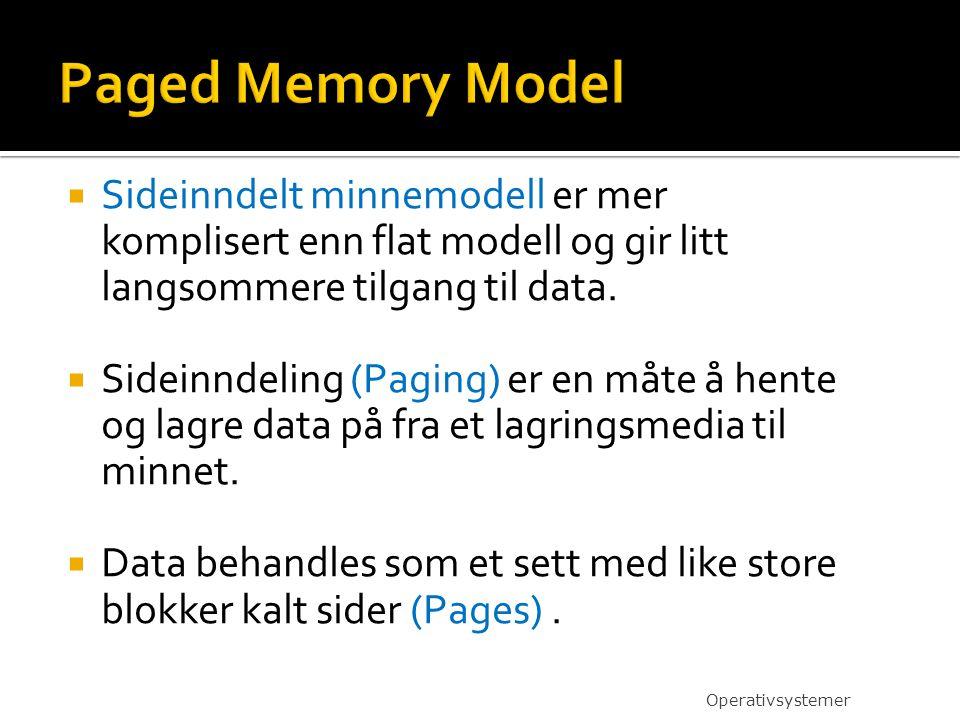  Sideinndelt minnemodell er mer komplisert enn flat modell og gir litt langsommere tilgang til data.