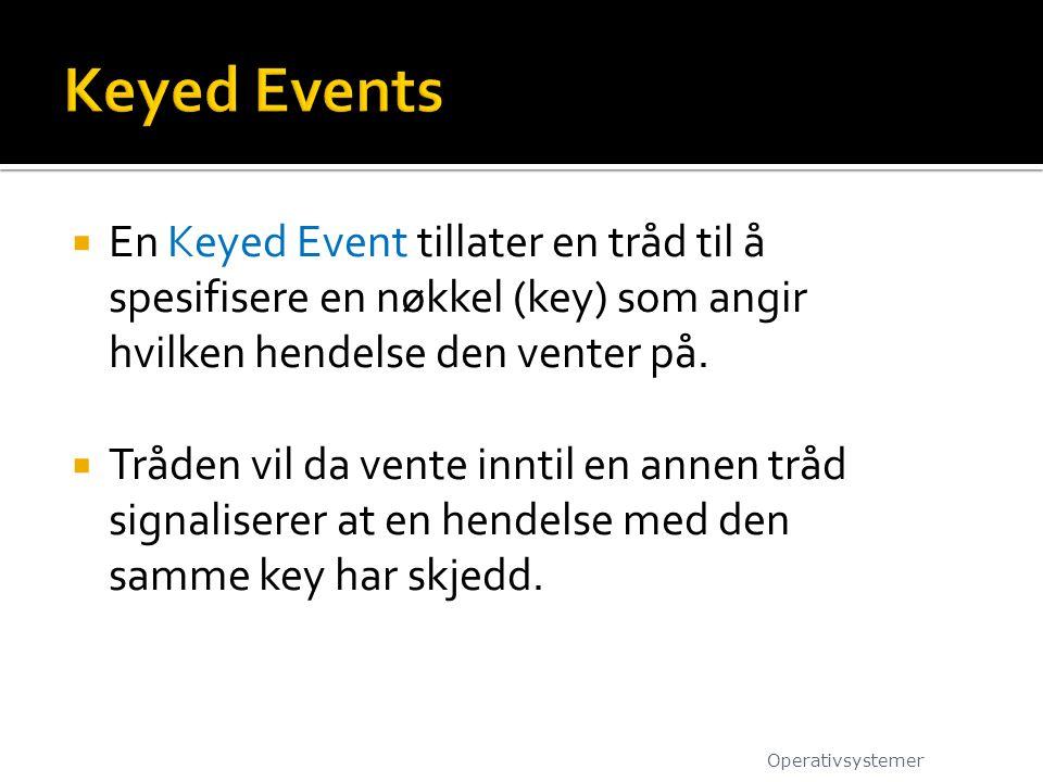  En Keyed Event tillater en tråd til å spesifisere en nøkkel (key) som angir hvilken hendelse den venter på.