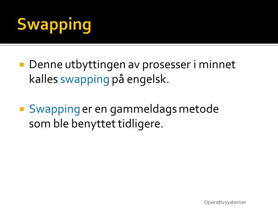  Denne utbyttingen av prosesser i minnet kalles swapping på engelsk.