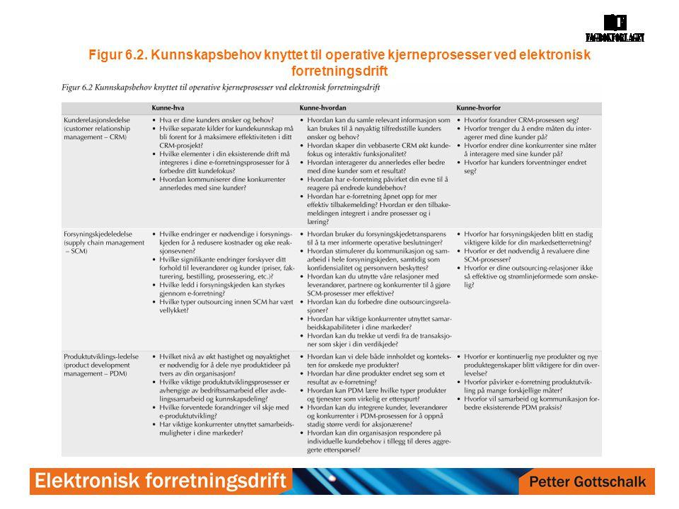 Figur 6.2. Kunnskapsbehov knyttet til operative kjerneprosesser ved elektronisk forretningsdrift