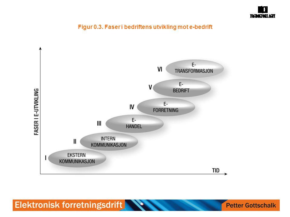 Figur 0.4. Kjennetegn ved hver fase mot e-bedrift