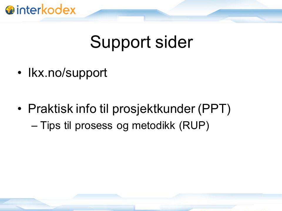 Support sider Ikx.no/support Praktisk info til prosjektkunder (PPT) –Tips til prosess og metodikk (RUP)