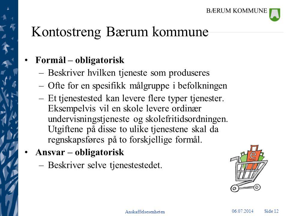 Anskaffelsesenheten Side 1306.07.2014 Kontostreng Bærum kommune Art – obligatorisk –Beskriver hva som er kjøpt eller solgt –Er ikke utømmende.