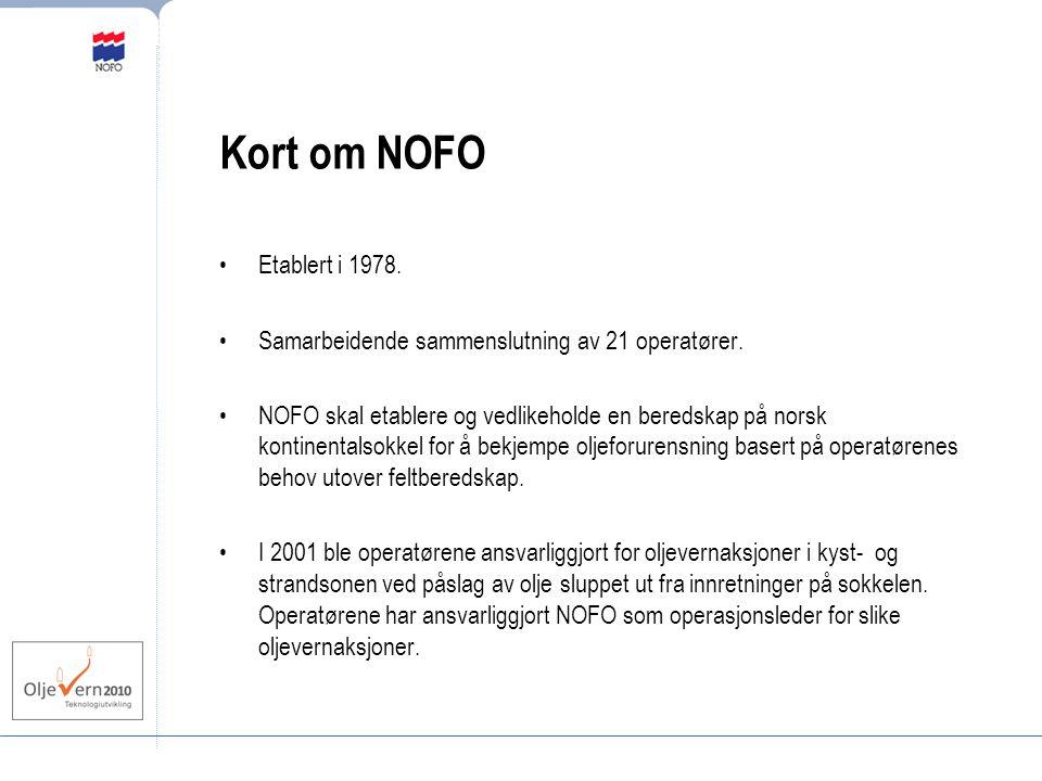 Kort om NOFO Etablert i 1978. Samarbeidende sammenslutning av 21 operatører. NOFO skal etablere og vedlikeholde en beredskap på norsk kontinentalsokke