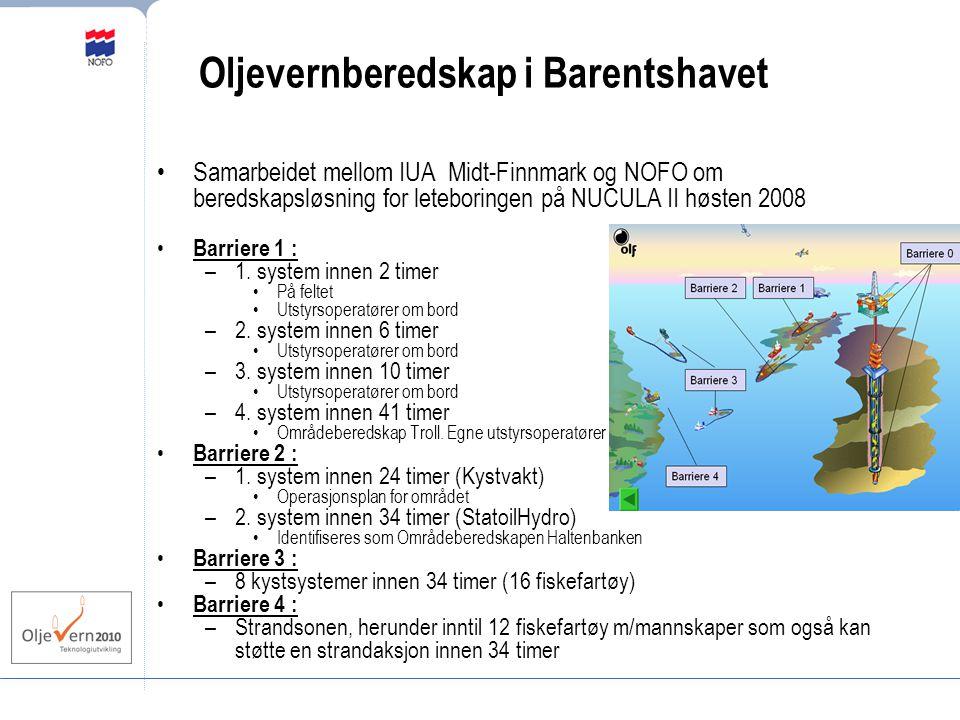 Oljevernberedskap i Barentshavet Samarbeidet mellom IUA Midt-Finnmark og NOFO om beredskapsløsning for leteboringen på NUCULA II høsten 2008 Barriere 1 : –1.
