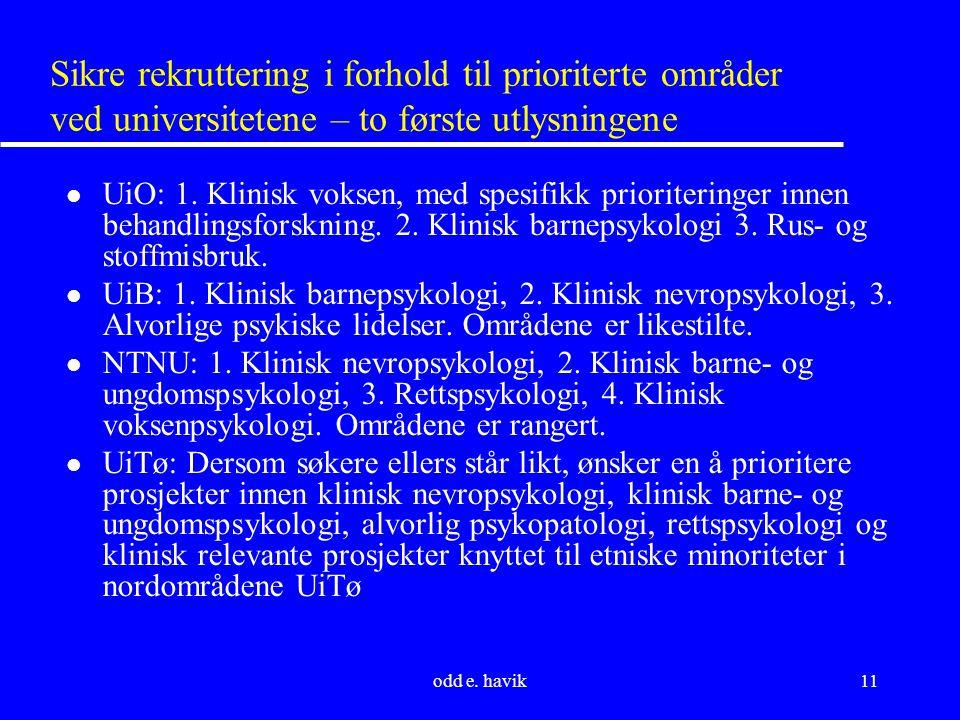 odd e. havik11 Sikre rekruttering i forhold til prioriterte områder ved universitetene – to første utlysningene l UiO: 1. Klinisk voksen, med spesifik