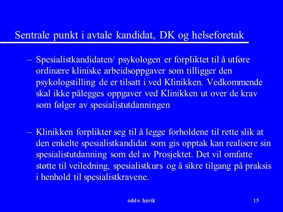 odd e. havik15 Sentrale punkt i avtale kandidat, DK og helseforetak –Spesialistkandidaten/ psykologen er forpliktet til å utføre ordinære kliniske arb