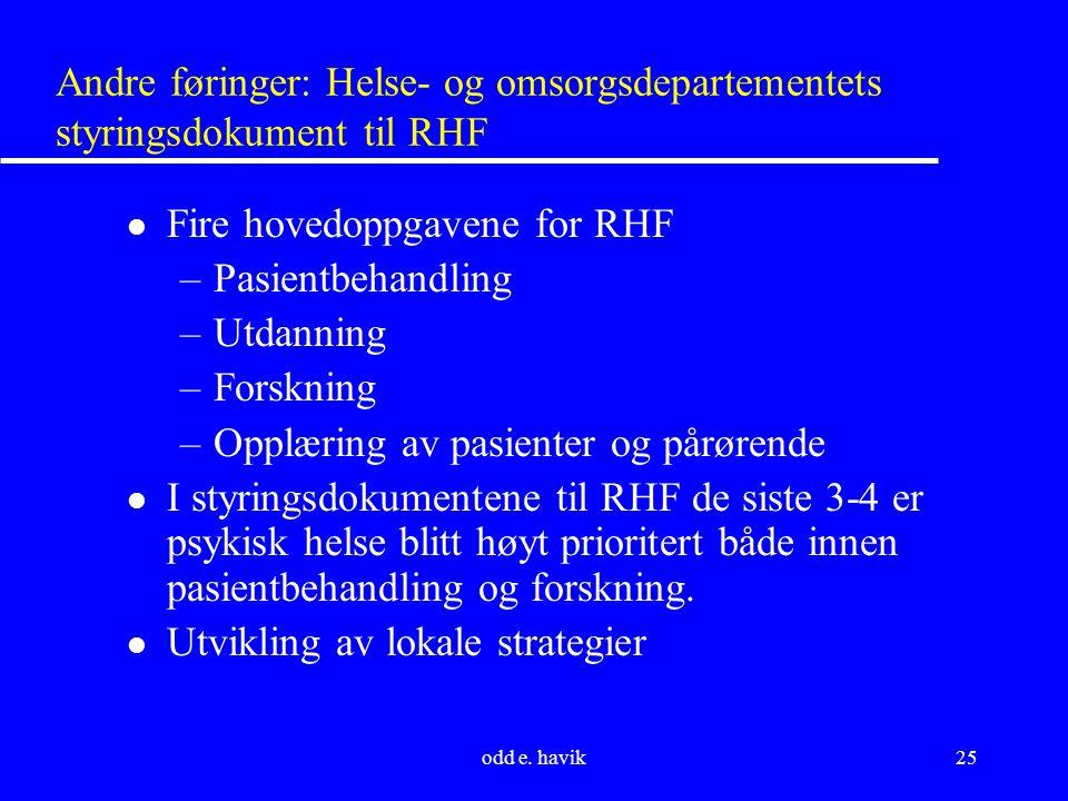odd e. havik25 Andre føringer: Helse- og omsorgsdepartementets styringsdokument til RHF l Fire hovedoppgavene for RHF –Pasientbehandling –Utdanning –F