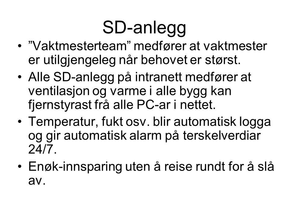 """SD-anlegg """"Vaktmesterteam"""" medfører at vaktmester er utilgjengeleg når behovet er størst. Alle SD-anlegg på intranett medfører at ventilasjon og varme"""
