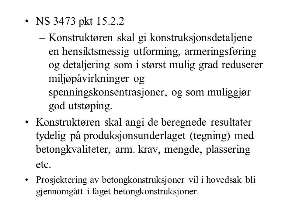PROSJEKTERING AV BETONGKONSTRUKSJONER Styrkeberegning, tegninger etc.-konstruere –konstruktør Utføres etter gjeldende regler - –NS 3473 - Prosjekterin