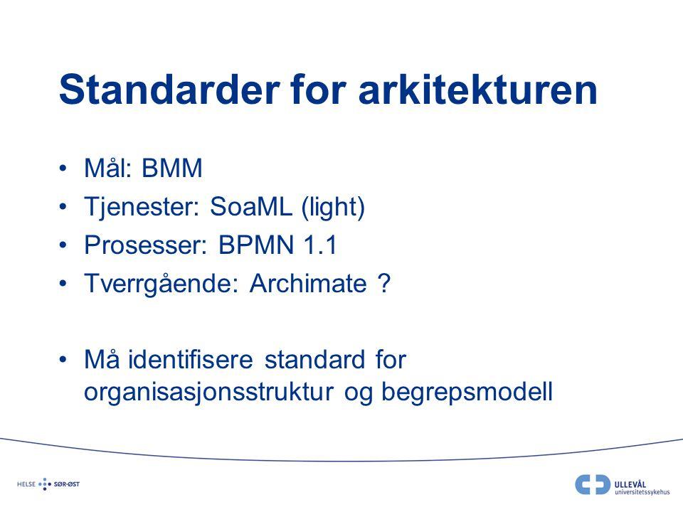 Standarder for arkitekturen Mål: BMM Tjenester: SoaML (light) Prosesser: BPMN 1.1 Tverrgående: Archimate ? Må identifisere standard for organisasjonss