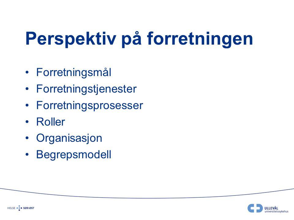 Perspektiv på forretningen Forretningsmål Forretningstjenester Forretningsprosesser Roller Organisasjon Begrepsmodell