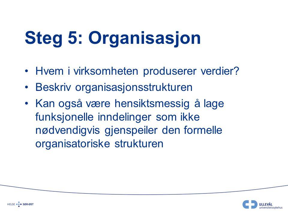 Steg 5: Organisasjon Hvem i virksomheten produserer verdier? Beskriv organisasjonsstrukturen Kan også være hensiktsmessig å lage funksjonelle inndelin