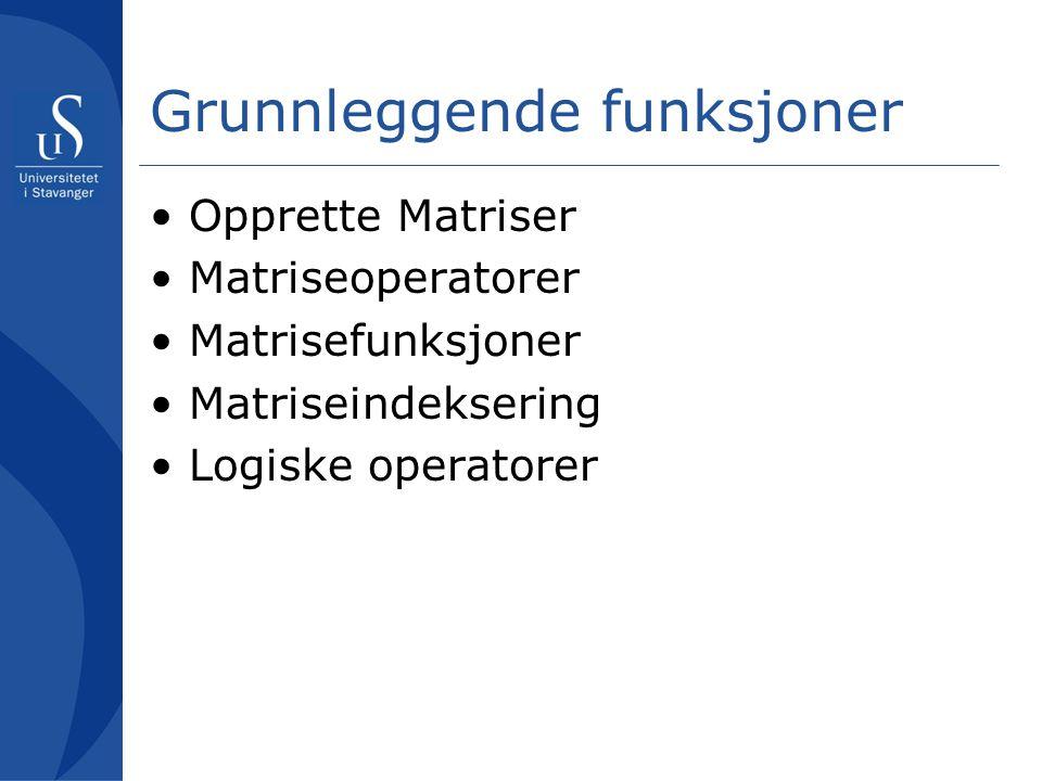 Grunnleggende funksjoner Opprette Matriser Matriseoperatorer Matrisefunksjoner Matriseindeksering Logiske operatorer