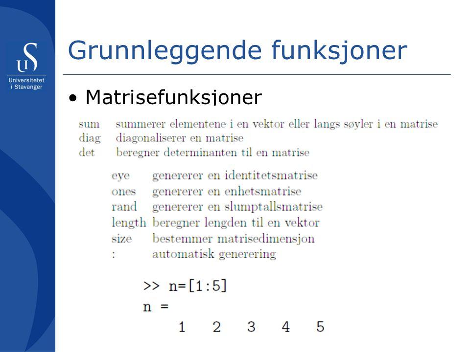 Grunnleggende funksjoner Matrisefunksjoner