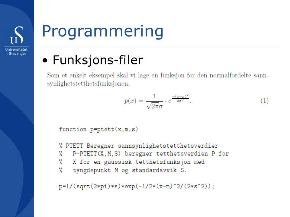Programmering Funksjons-filer