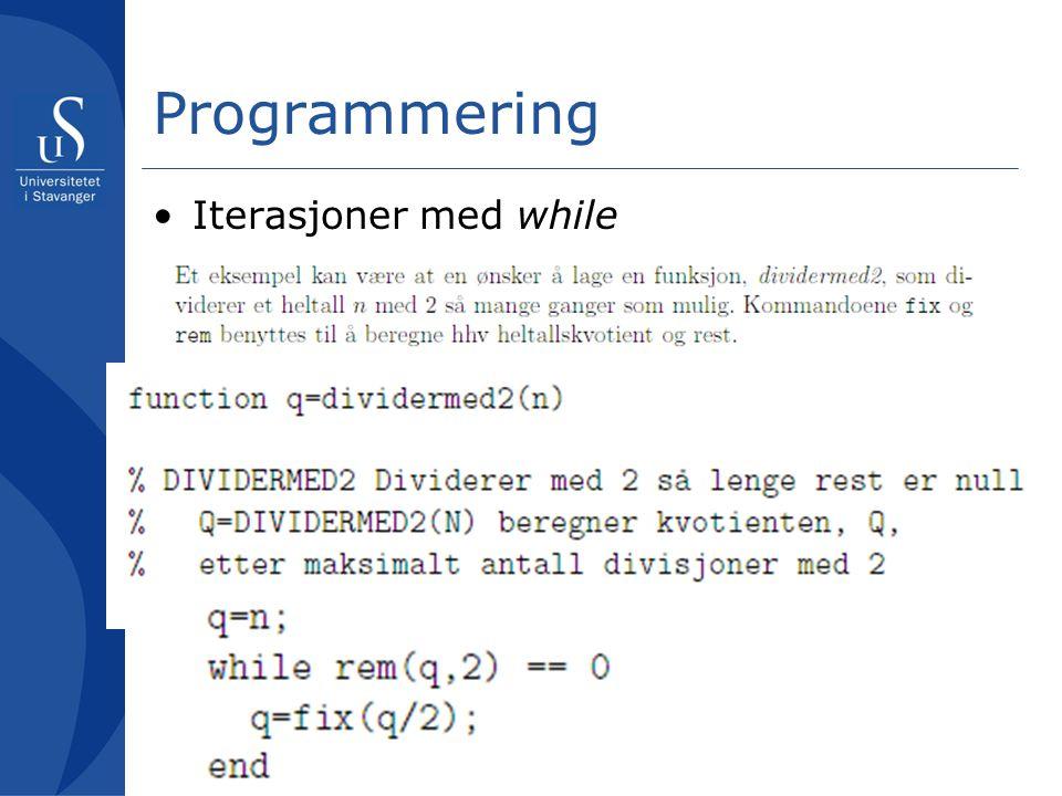 Programmering Iterasjoner med while