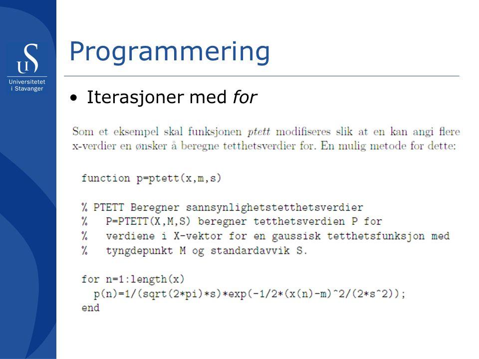 Programmering Iterasjoner med for