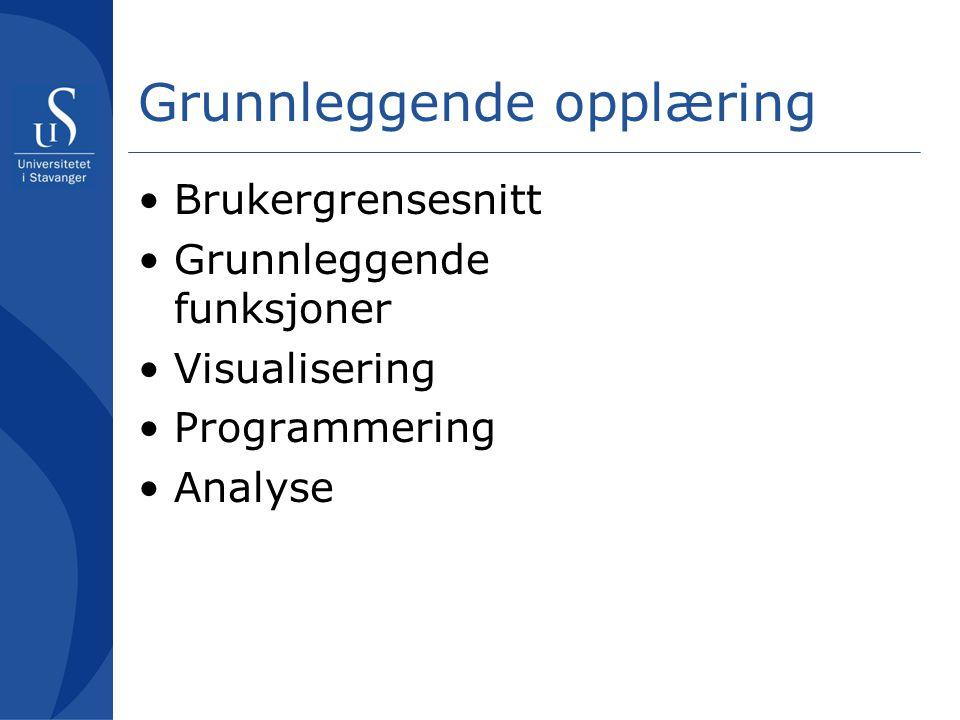 Grunnleggende opplæring Brukergrensesnitt Grunnleggende funksjoner Visualisering Programmering Analyse