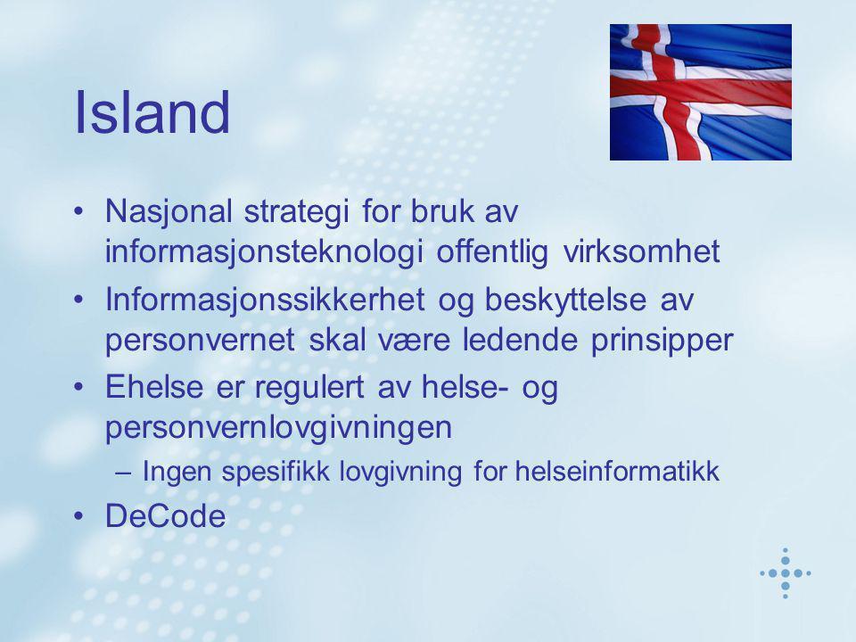 Finland Desentralisert helsevesen Prinsipp om sømløse tjenestestrukturer med borgeren i sentrum Nasjonal elektronisk pasientjournal (2007) Egen lovgivning for sømløse tjenester Nasjonale standarder