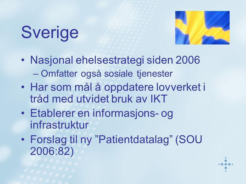 Sverige Nasjonal ehelsestrategi siden 2006 –Omfatter også sosiale tjenester Har som mål å oppdatere lovverket i tråd med utvidet bruk av IKT Etablerer en informasjons- og infrastruktur Forslag til ny Patientdatalag (SOU 2006:82)