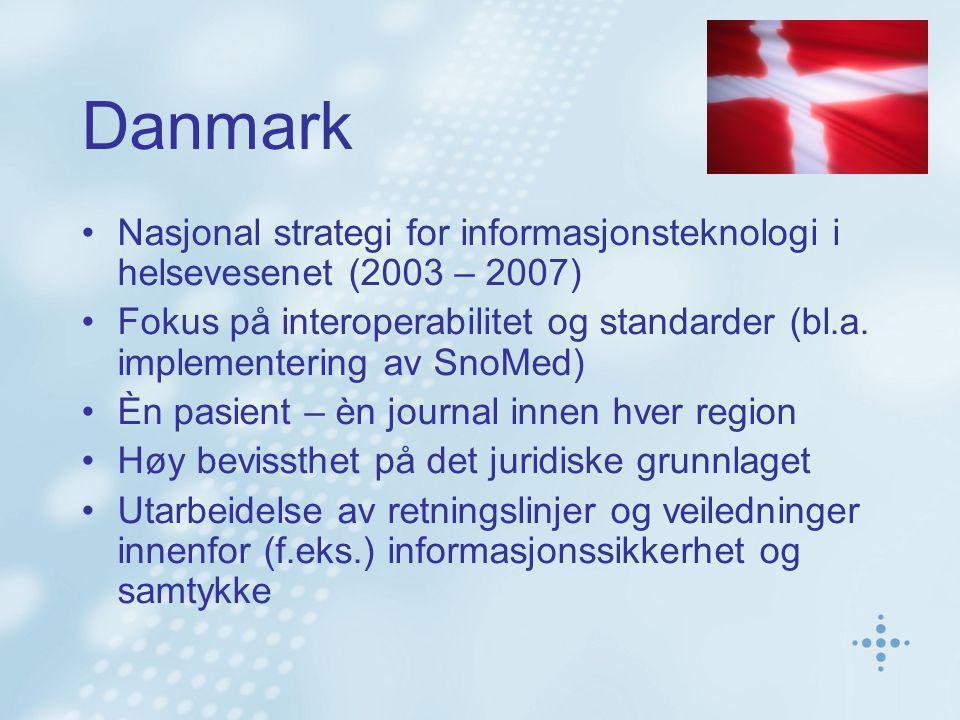 Danmark Nasjonal strategi for informasjonsteknologi i helsevesenet (2003 – 2007) Fokus på interoperabilitet og standarder (bl.a.
