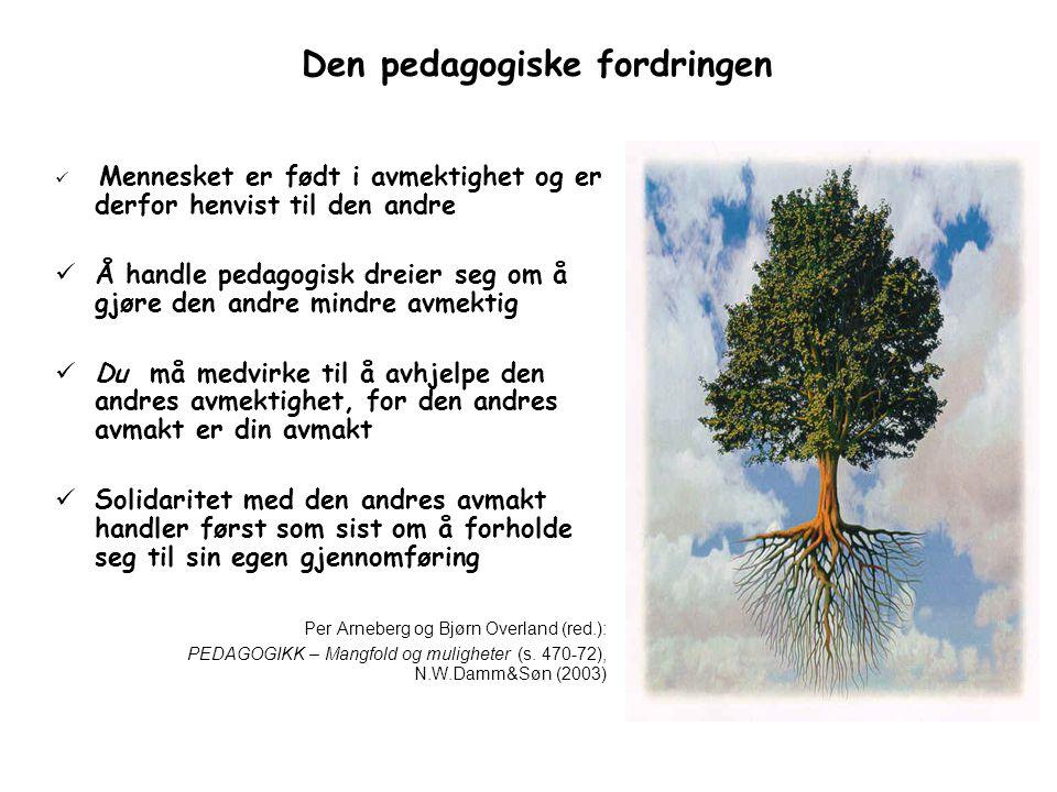 Den pedagogiske fordringen Mennesket er født i avmektighet og er derfor henvist til den andre Å handle pedagogisk dreier seg om å gjøre den andre mindre avmektig Du må medvirke til å avhjelpe den andres avmektighet, for den andres avmakt er din avmakt Solidaritet med den andres avmakt handler først som sist om å forholde seg til sin egen gjennomføring Per Arneberg og Bjørn Overland (red.): PEDAGOGIKK – Mangfold og muligheter (s.