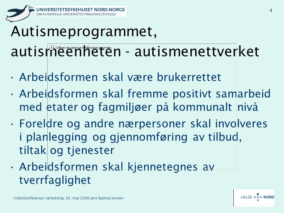 Videokonferanse i veiledning, 26. mai 2009 Jens Bjørnar Jensen 4 Autismeprogrammet, autismeenheten - autismenettverket Arbeidsformen skal være brukerr