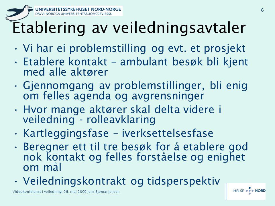 Videokonferanse i veiledning, 26. mai 2009 Jens Bjørnar Jensen 6 Etablering av veiledningsavtaler Vi har ei problemstilling og evt. et prosjekt Etable