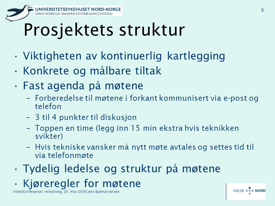 Videokonferanse i veiledning, 26. mai 2009 Jens Bjørnar Jensen 8 Prosjektets struktur Viktigheten av kontinuerlig kartlegging Konkrete og målbare tilt