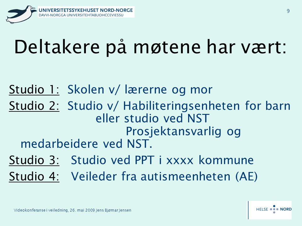 Videokonferanse i veiledning, 26. mai 2009 Jens Bjørnar Jensen 9 Deltakere på møtene har vært: Studio 1: Skolen v/ lærerne og mor Studio 2: Studio v/