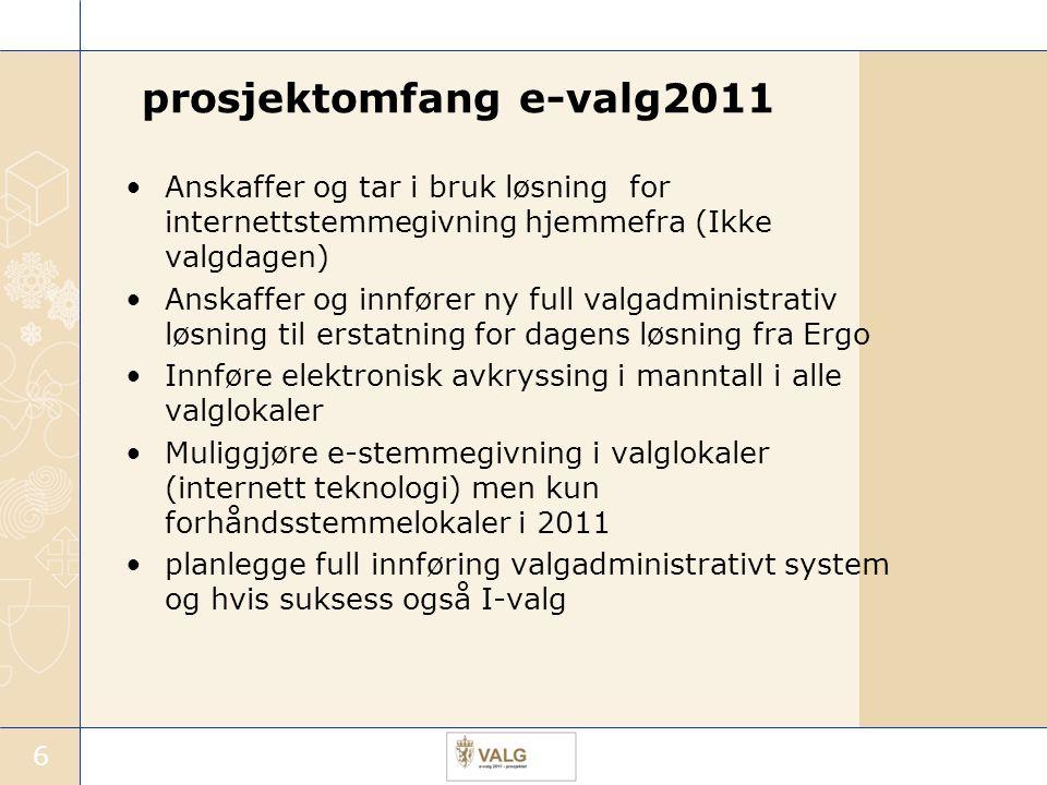 6 prosjektomfang e-valg2011 Anskaffer og tar i bruk løsning for internettstemmegivning hjemmefra (Ikke valgdagen) Anskaffer og innfører ny full valgad