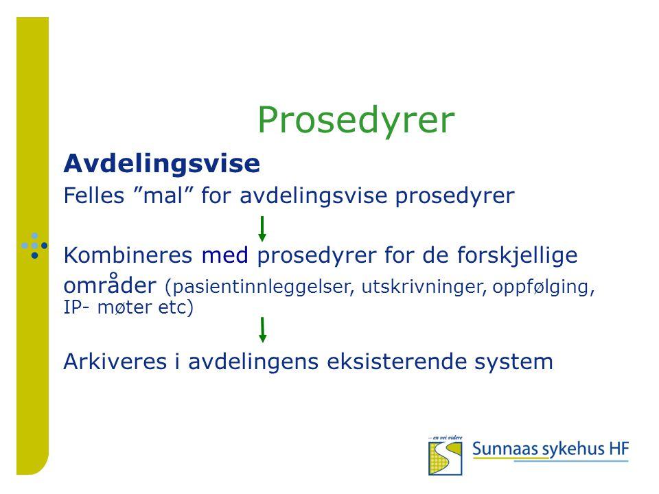 Prosedyrer Avdelingsvise Felles mal for avdelingsvise prosedyrer Kombineres med prosedyrer for de forskjellige områder (pasientinnleggelser, utskrivninger, oppfølging, IP- møter etc) Arkiveres i avdelingens eksisterende system