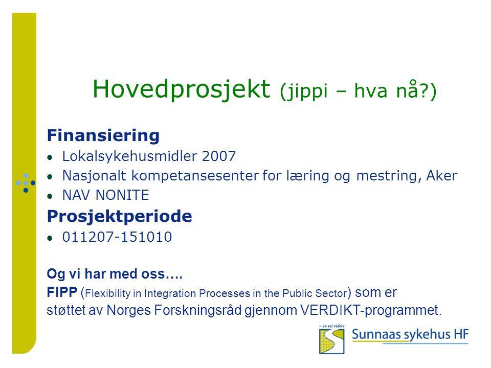 Hovedprosjekt (jippi – hva nå ) Finansiering Lokalsykehusmidler 2007 Nasjonalt kompetansesenter for læring og mestring, Aker NAV NONITE Prosjektperiode 011207-151010 Og vi har med oss….