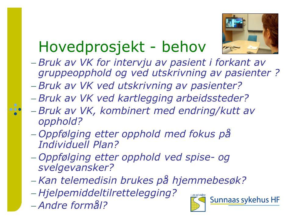Delprosjekt Kompetanse – Helt hjem Mål Ved hjelp av VK skal det etableres en samarbeidsform mellom SunHF og deres pasienter med langvarige rehabiliteringsbehov knyttet til oppfølging av pasientene i hjemmet.