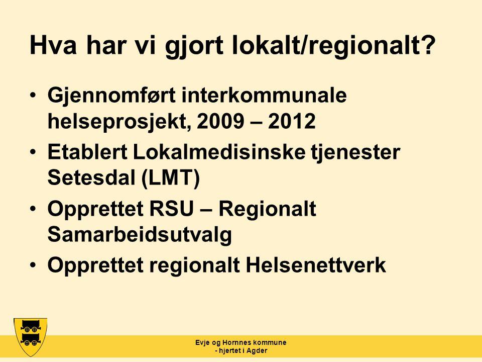 Evje og Hornnes kommune - hjertet i Agder Hva har vi gjort lokalt/regionalt? Gjennomført interkommunale helseprosjekt, 2009 – 2012 Etablert Lokalmedis