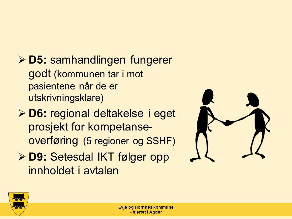 Evje og Hornnes kommune - hjertet i Agder  D5: samhandlingen fungerer godt (kommunen tar i mot pasientene når de er utskrivningsklare)  D6: regional